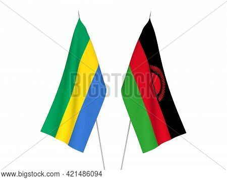 National Fabric Flags Of Gabon And Malawi Isolated On White Background. 3d Rendering Illustration.