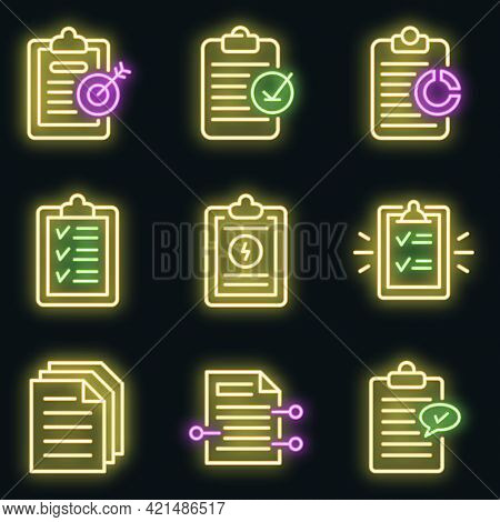Summary Icons Set. Outline Set Of Summary Vector Icons Neon Color On Black