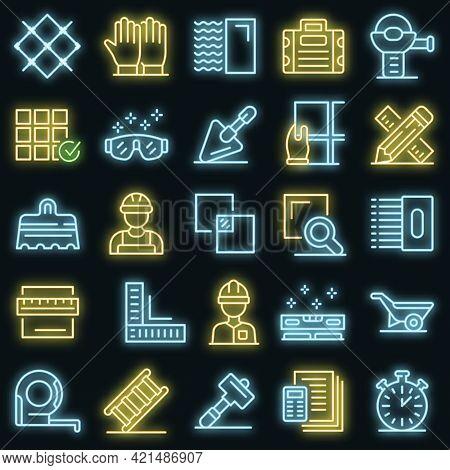 Tiler Icons Set. Outline Set Of Tiler Vector Icons Neon Color On Black