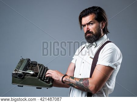 Mature Typist Use Vintage Typewriter. Masculinity And Charisma. Formal Party Dress Code. Old Fashion
