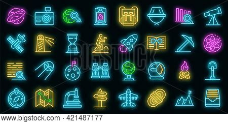 Exploration Icons Set. Outline Set Of Exploration Vector Icons Neon Color On Black