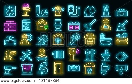 Repairman Icons Set. Outline Set Of Repairman Vector Icons Neon Color On Black