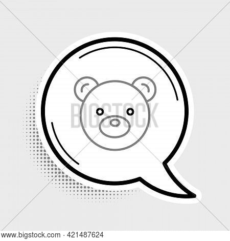 Line Teddy Bear Plush Toy Icon Isolated On Grey Background. Colorful Outline Concept. Vector