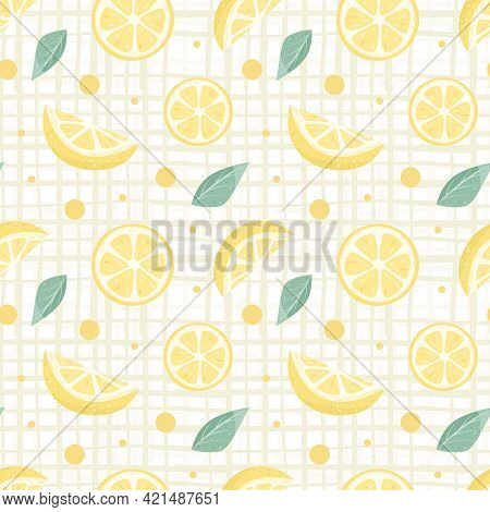 Lemonade Seamless Pattern With Yellow Lemons And Mint. Whole And Parts, Slice. Vector Illustration.