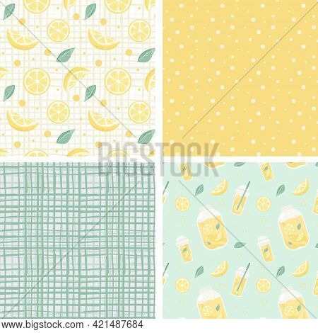 Collection With Seamless Pattern With Yellow Lemons And Polka Dots And Cage. Vector Illustration.