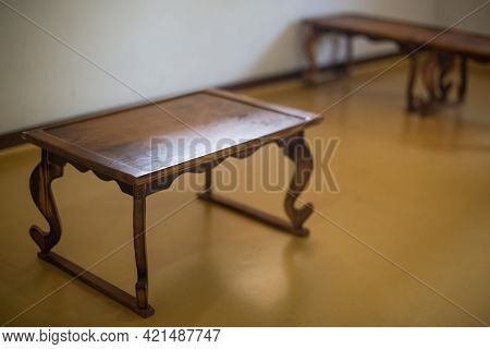 Korean Traditional Small Portable Dining Table With Tea.