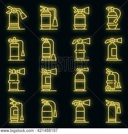 Fire Extinguisher Icons Set. Outline Set Of Fire Extinguisher Vector Icons Neon Color On Black