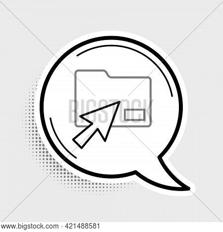 Line Cursor Click Document Folder Icon Isolated On Grey Background. Accounting Binder Symbol. Bookke