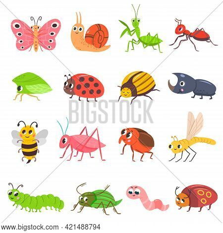 Cute Insect Set. Cartoon Bug, Beetle, Butterfly, Worm. Funny Snail And Ant. Happy Smiling Insect Vec