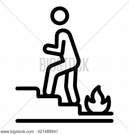 Stairs Human Evacuation Icon. Outline Stairs Human Evacuation Vector Icon For Web Design Isolated On