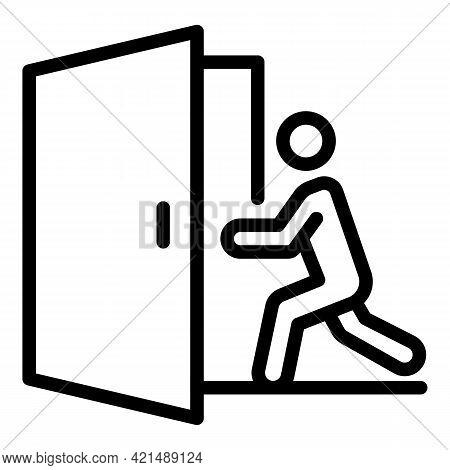 Man Find Evacuation Door Icon. Outline Man Find Evacuation Door Vector Icon For Web Design Isolated