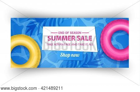 Summer Sale Banner Template, Summer Sale Bright Background For Your Advertisement, Vector Illustrati