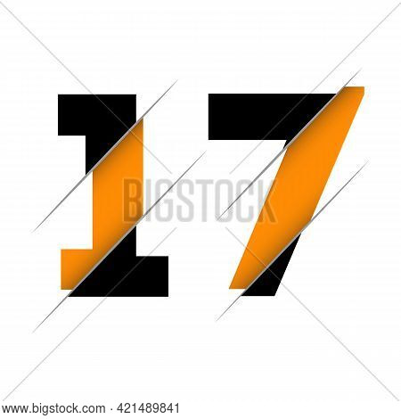 17 1 7 Number Logo Design With A Creative Cut And Black Circle Background. Creative Logo Design.