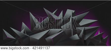3d Render Abstract Black Crystal Background, Faceted Texture, Panorama, Wide Panoramic Polygonal Wal