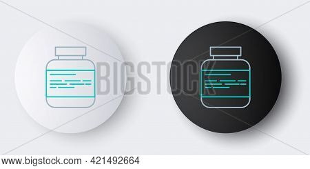 Line Medicine Bottle And Pills Icon Isolated On Grey Background. Medical Drug Package For Tablet, Vi