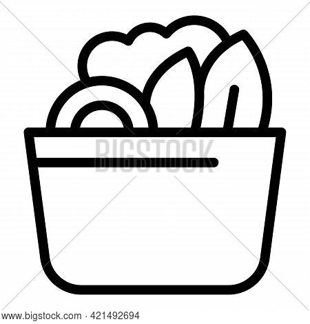 Lunch Bowl Salad Icon. Outline Lunch Bowl Salad Vector Icon For Web Design Isolated On White Backgro