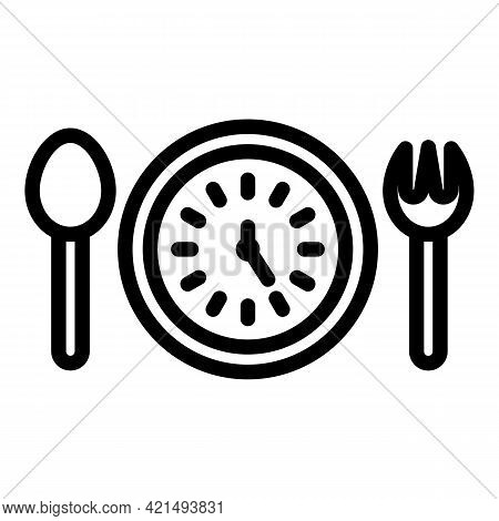 Eating Cutlery Icon. Outline Eating Cutlery Vector Icon For Web Design Isolated On White Background