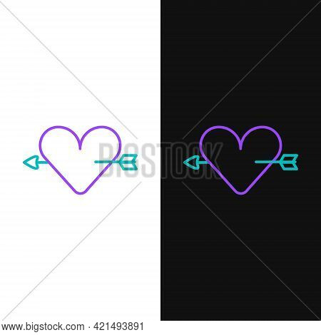 Line Amour Symbol With Heart And Arrow Icon Isolated On White And Black Background. Love Sign. Valen
