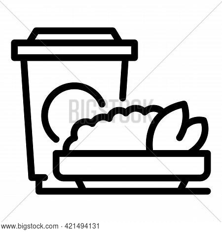 Coffee Lunch Icon. Outline Coffee Lunch Vector Icon For Web Design Isolated On White Background