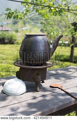 A Oriental Clay Pots Preparing Medicines Isolated.