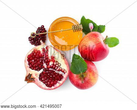 Honey, Pomegranate And Apples On White Background, Top View. Rosh Hashana Holiday