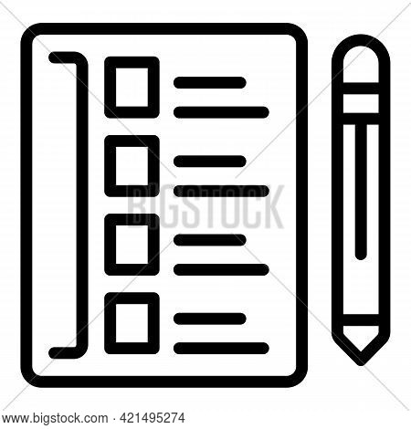 School Checklist Icon. Outline School Checklist Vector Icon For Web Design Isolated On White Backgro