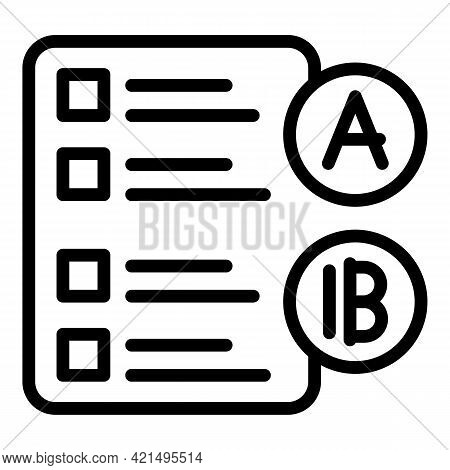 Student Checklist Icon. Outline Student Checklist Vector Icon For Web Design Isolated On White Backg