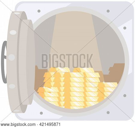 Opened Silver Metallic Bank Vault With Gold Bars Inside. Income And High Earnings In Gold Bars. Valu