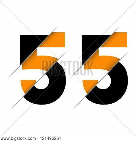 55 5 Number Logo Design With A Creative Cut And Black Circle Background. Creative Logo Design.