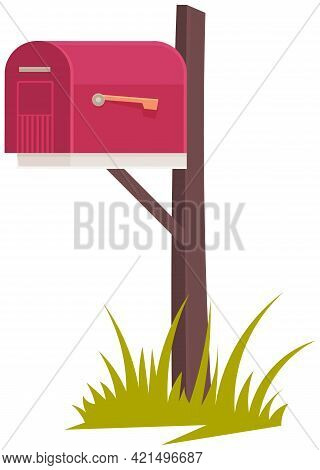 Mailbox Isolated On White Background. Container For Letters. Box For Letters And Parcels. Home Exter