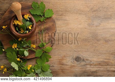 Celandine With Mortar, Pestle And Board On Wooden Table, Flat Lay. Space For Text