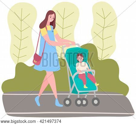 Woman Strolling With Baby In Park. Mother Taking Care About Her Child In Cute Carriage. Walking In O