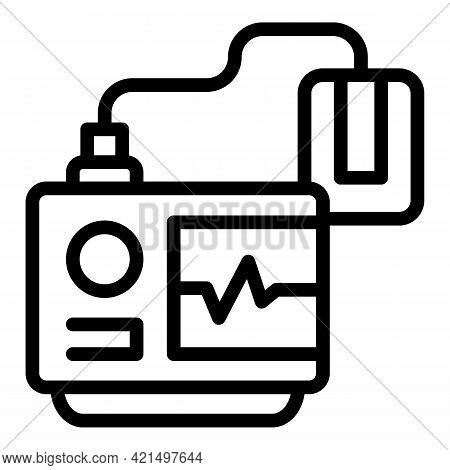 Cardiac Defibrillator Icon. Outline Cardiac Defibrillator Vector Icon For Web Design Isolated On Whi