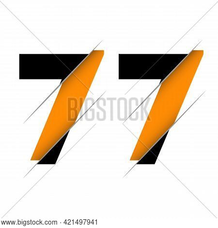 77 7 Number Logo Design With A Creative Cut And Black Circle Background. Creative Logo Design.