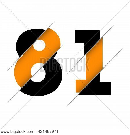 81 8 1 Number Logo Design With A Creative Cut And Black Circle Background. Creative Logo Design.