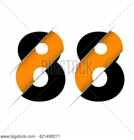 88 8 Number Logo Design With A Creative Cut And Black Circle Background. Creative Logo Design.