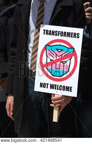 Kyiv, Ukraine - May. 22, 2021: A March In Support Of Transgender People Was Held On Mikhailovskaya S