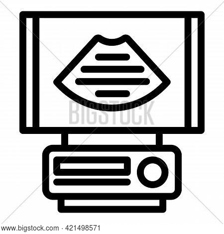 Sonography Device Icon. Outline Sonography Device Vector Icon For Web Design Isolated On White Backg
