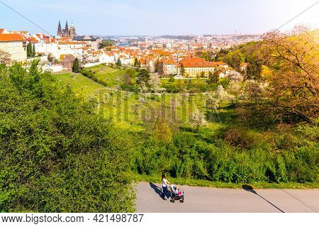 Mother With Pram Walking In Park. Prague Strahov Gardens Panoramic View With Prague Castle On Backgr