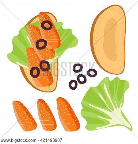 Sandwich Ingredients. Sandwich With Lettuce Leaf, Olives, Salmon. Snack. Overhead View Of Isolated F