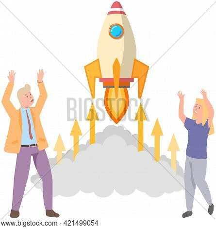 Happy Rich People Watching Rocket Launch. Project, Flying, Startup Concept. Business Startup And Ent