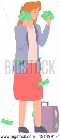 Smiling Businesswoman Stands With Full Hands Of Money. Woman Hold Dollars Bills In Her Hand. Busines
