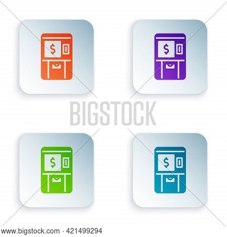 Color Atm - Automated Teller Machine And Money Icon Isolated On White Background. Set Colorful Icons