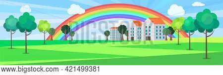 Landscape With Residential Buildings And Green Trees. Modern Downtown With Rainbow After Rain. Warm