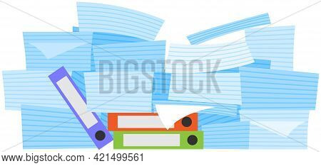 Stack Of Documents And Assignments Isolated On White Background. Paper Sheets With Tasks For Doing A