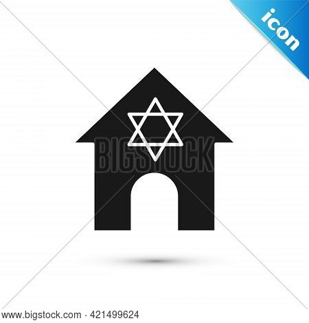 Grey Jewish Synagogue Building Or Jewish Temple Icon Isolated On White Background. Hebrew Or Judaism