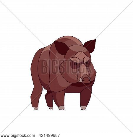 Wild Boar Looking Straight. Cartoon Character Of A Big Mammal Animal. A Wild Forest Creature With Br