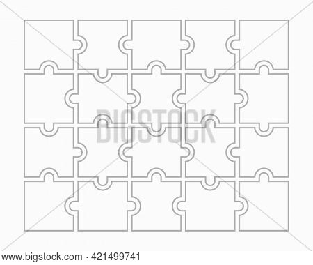 Twenty Blank Puzzle Pieces. Puzzle For Web, Information Or Presentation Design, Infographics. White