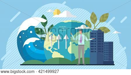 Earth Global Warming Poster. Saving Earth And Environmental Care. Man Talks About Climate Change On