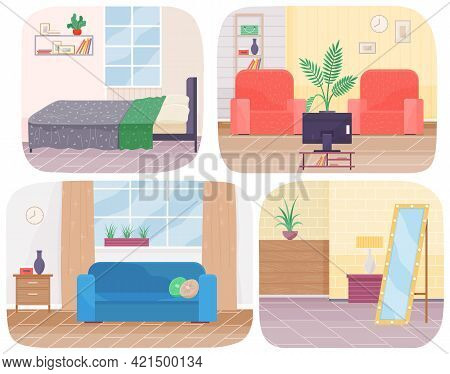 Living Room Interior Design Set Of Four Scenes. Arrangement Of Furniture And Layout Of Premises In A